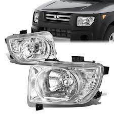 03 08 Honda Element Dx Ex Lx Headlights Chrome Housing Clear Corner Honda Element Headlights Honda
