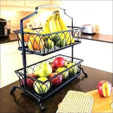 countertop produce storage bread basket 2 tier metal fruit vegetable rack