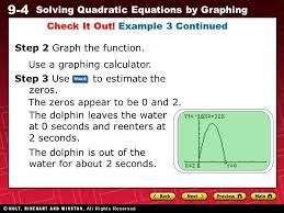9 4 solving quadratic equations by graphing step 2 graph the function