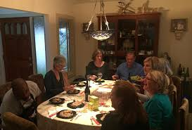 check out this picture taken by hugh of assistant chef ken helen bev john susan judi barb and brigette left to right around the table