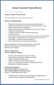 Technical Trainer Resume Sample Corporate Trainer Resume Sample Corporate Trainer Resume Type