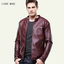 black brown red autumn winter pu jacket for men slim fit faux leather jacket mens warm