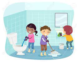 Illustration Of Stickman Kids Cleaning The Bathroom From Toilet Bowl, Floor  And Sink Stock Photo, Picture And Royalty Free Image. Image 139739548.