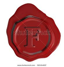 stock vector letter f stamped in red wax seal