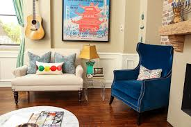 blue velvet chairs living room eclectic with artistic living room image by estrada design consulting