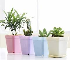 office flower pots. kloud city 5 colors dia 275inch plastic square plant pot planter flower with pallet tray saucer and 1set green mini transplanting tool for office pots c
