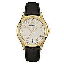 bulova watches designer watches ernest jones bulova men s gold plated leather strap watch product number 3542300