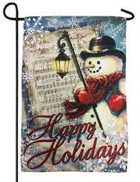 Holidays Snowman Musical Happy Holidays Snowman Suede Reflections Garden Flag I