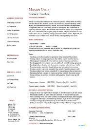Sample Of Job Resume Science Teacher Resume Sample Example Job Description Teaching