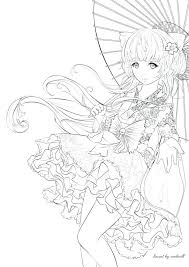 Anime Girl Coloring Pages Printable Girls Print Out For