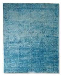 arabesque haze blue hand knotted wool rug