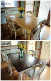 dark wood dining room table dining table makeover before and after dark top with light white legs love this look