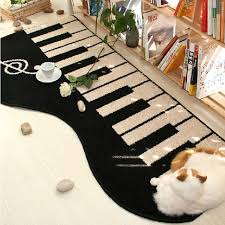 New Black Keyboard area rug piano music note rugs carpet giant piano floor  mat