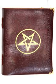 leather cover handmade paper writing book with gold star design and corners
