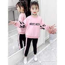Set bộ quần áo dành cho bé gái 6-10 tuổi chữ BEST. Thiết kế đẹp, màu sắc  tươi sáng