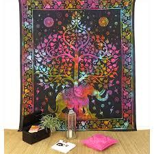 elephant colorful tie dye tree of life