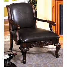 leather antique accent chair living room solid wood vintage furniture home decor
