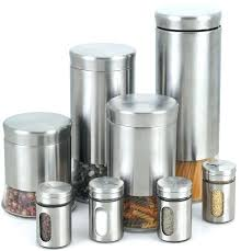 stainless steel 8 piece canister and spice jar set kitchen counter containers countertop storage canisters for