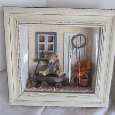 teddy bear red wagon shadow box nursery room wall decor children