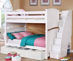 Chelsea Full over Bunk Bed with Stairs in White | Allen House Kids Loft Beds and