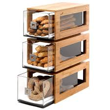 rosseto three tier bamboo bakery display column with clear acrylic drawers bd104