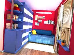 Red room with blue sofa by zeravla ...