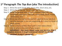 the paragraph essay structure you will notice the structure  1 st paragraph the top bun aka the introduction step 1 write the