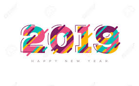 2019 Happy New Year Greeting Card With Abstract Colorful Numbers ...