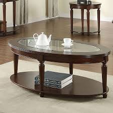 Furniture of America Granvia Dark Cherry/Clear Asian Hardwood Glass Coffee  Table