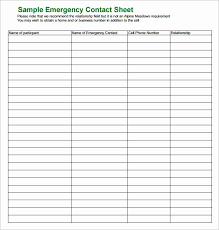 Emergancy Contact Sheet Employee Emergency Contact Form Template Lovely Free Emergency