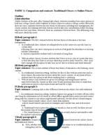 compare and contrast essay a traditional class vs an online class compare contrast