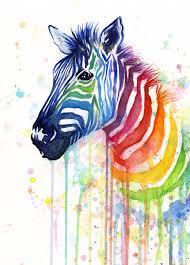 animal painting rainbow zebra ode to fruit stripes by olga shvartsur
