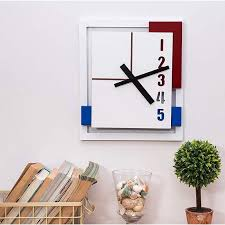 30 cm rectangular wall clock white red