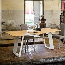 modern dining table 100x200cm in oak mdf and red metal base