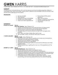 More Server Resume Examples