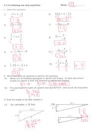 one step equation practice handout extra handout