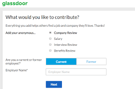 screenshot of the glassdoor company review page