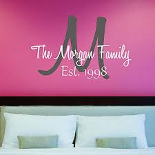 on personalized vinyl wall art message with family name wall decals