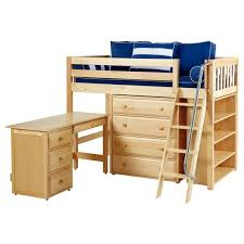 katching3 l or r ns mid loft bed with angle ladder 4 drawer dresser