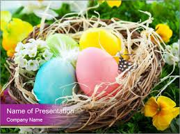 Easter Nest With Colorful Eggs Powerpoint Template Infographics Slides