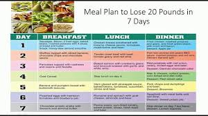 Diet Chart To Lose Weight Lose 20 Pounds In 7 Days
