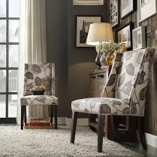 Chelsea Lane Classic Gray Flower with Leaves Print Wingback with Nailhead Accent  Chair - Set of 2 | Hayneedle