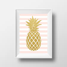 items similar to pineapple wall art gold pineapple pink