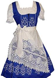 Dirndl Trachten Haus 3 Piece Long German Wear Party Oktoberfest Waitress Dress 16 46 Blue