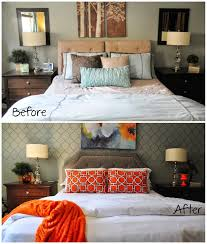 Before And After Of A Master Bedroom Makeover From Blue And Brown To Gray  And Orange