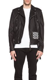 image 1 of off white new white leather biker jacket in black