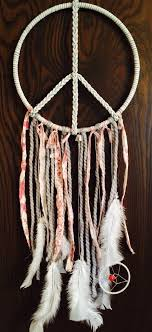 Leather Peace Sign with Mini Dream Catcher // Peace // White Leather //