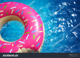 Hipster Sprinkled Donut Float Sunny Pool Stock Photo Image