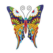 collections etc colorful metal mexican talavera style garden wall art butterfly on mexican talavera wall art with amazon collections etc colorful metal mexican talavera style