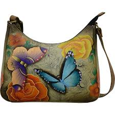 details about anna by chka hand painted leather large hobo
